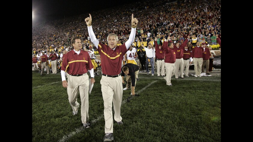 Coach Pete Carroll reacts after USC beat Notre Dame, 34–31, on Oct. 15, 2005, at South Bend, Ind.