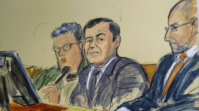 """In this courtroom sketch, Joaquin """"El Chapo"""" Guzman, center, listens as a prosecutor delivers closing arguments Wednesday during his federal trial in New York. The defense made its closing arguments Thursday."""