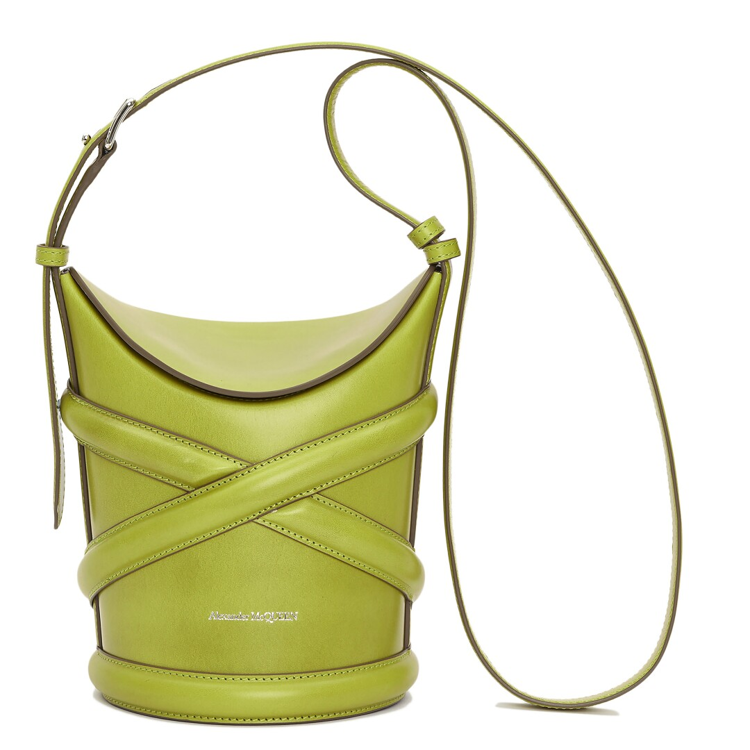 The Curve calf leather bag from Alexander McQueen in lime green
