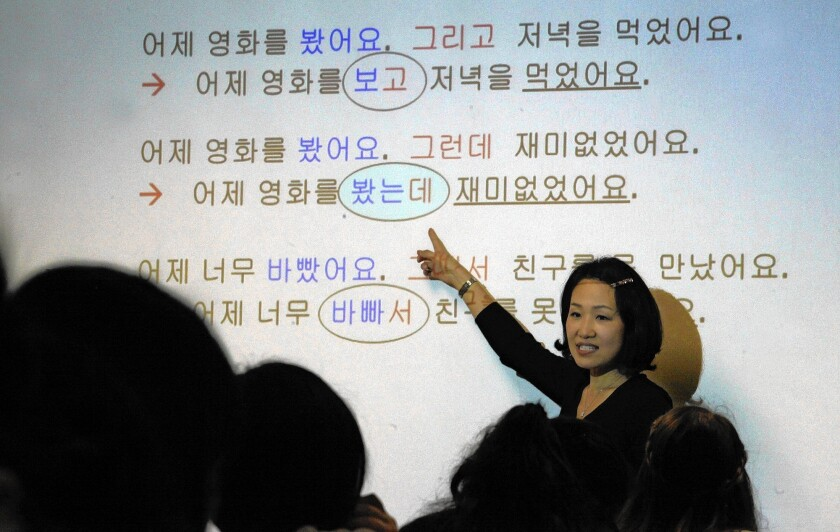Jae Im conducts a Korean language class at UCLA, where enrollment is up significantly in both the beginners' courses and in the so-called heritage classes tailored to Korean Americans who have some knowledge of the language.