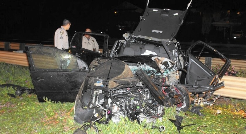 The driver of this Honda was killed in a crash with a BMW that was being driven westbound in the eastbound lanes of Interstate 8 in April.