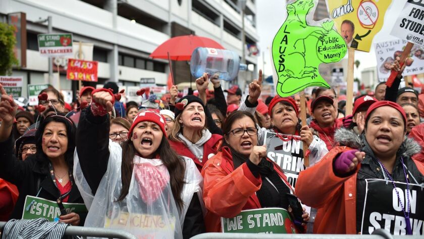 Striking teachers and supporters march on the charter school association offices in downtown Los Angeles on Jan. 15.