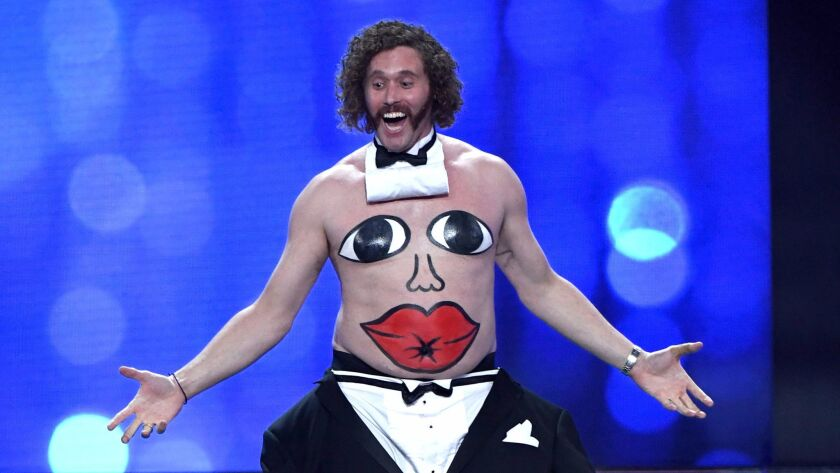 Host T.J. Miller performs onstage during the the 22nd Annual Critics Choice Awards.