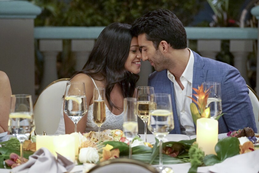 "Gina Rodriguez and Justin Baldoni in the series finale of ""Jane the Virgin"" on CW."