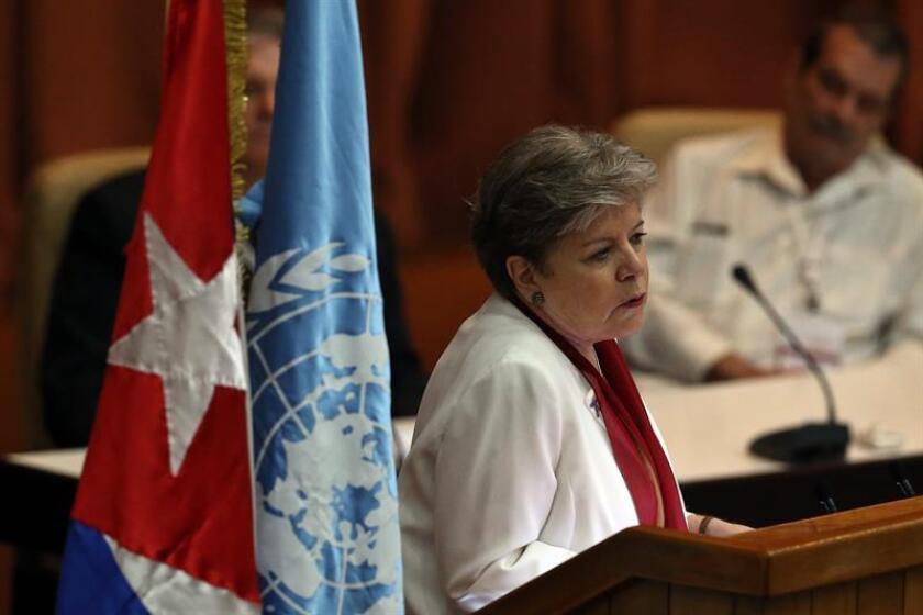 La secretaria general de la CEPAL, Alicia Bárcena, durante una conferencia de prensa. EFE/Archivo