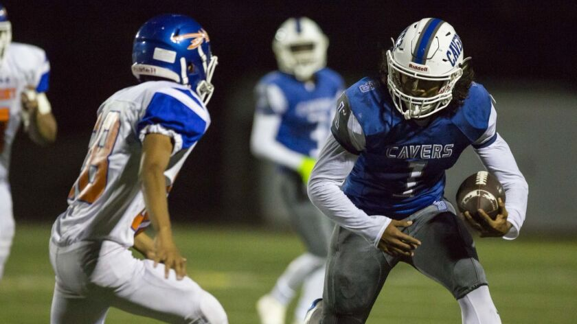 San Diego running back Raiden Hunter had 11 carries for 188 yards and 2 TDs in the Cavers' win last week.