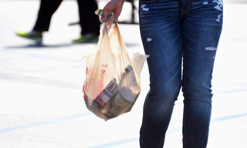 Gov. Gavin Newsom temporarily suspended California's ban on single-use plastic bags, such as the one shown here.