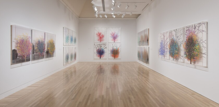 An installation view of Charles Gaines' grid pieces at the Hammer Museum