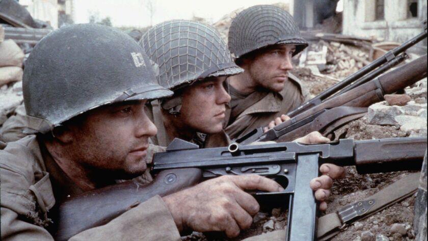 """Tom Hanks, left, Matt Damon and Edward Burns in 1998's """"Saving Private Ryan."""""""