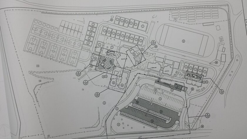 The dotted lines in the center of a blueprint of Sullivan Middle School indicate where work will begin this summer on classrooms for Bonsall High School.