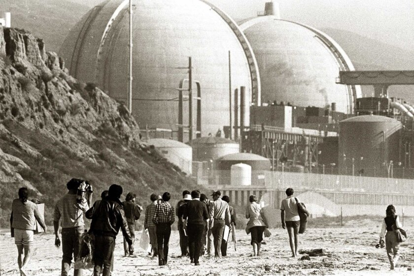 Demonstrators protest the San Onofre Nuclear Generating Station shortly after it opened for business in 1967.
