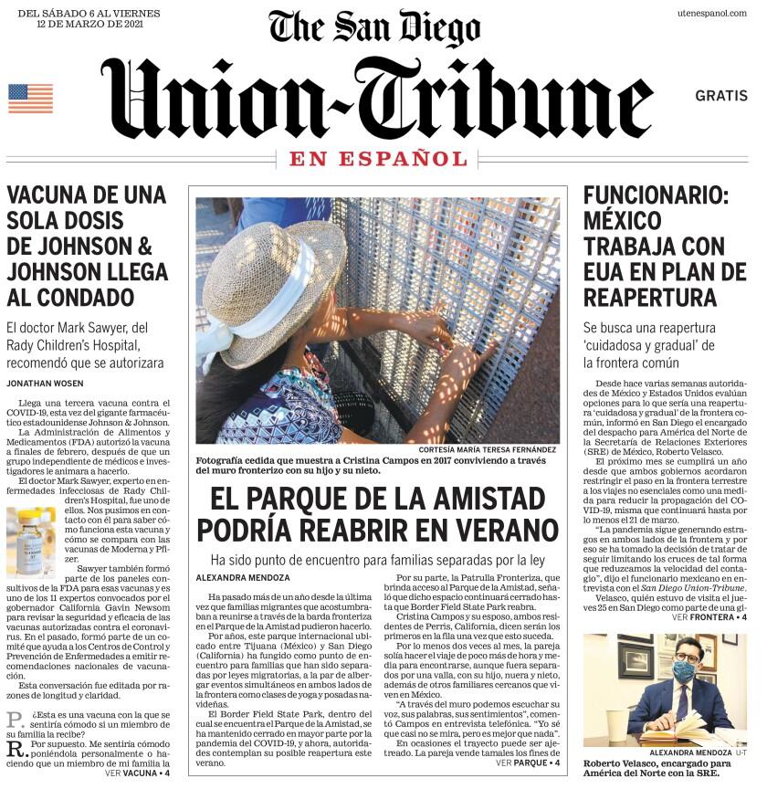 Portada del San Diego Union-Tribune en Español del 6 de marzo de 2021.