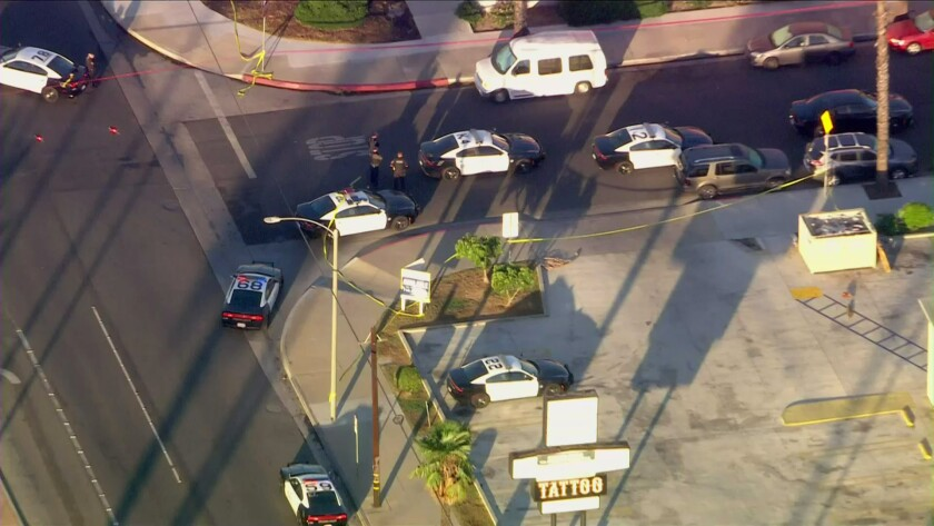 Police cruisers gather at the scene of an investigation after a police shooting.