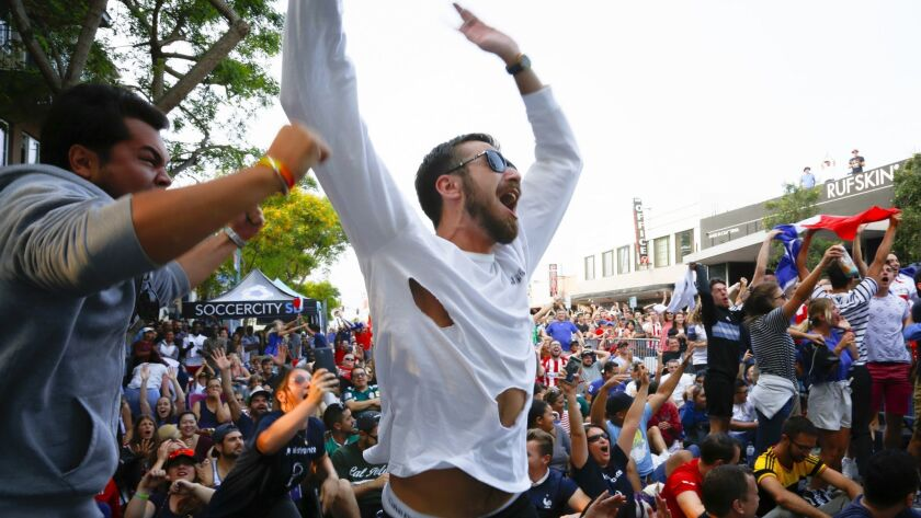 Watching the World Cup Championship game at the block party held in North Park, supporters for French team jump up in celebration when the French score the first goal of the game.