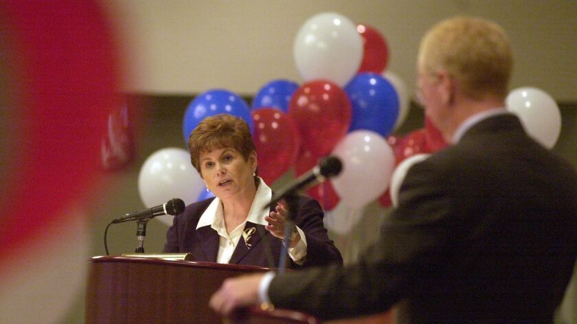 Bonnie Dumanis debates then-District Attorney Paul Pfingst in July 2002. She went on to unseat him i