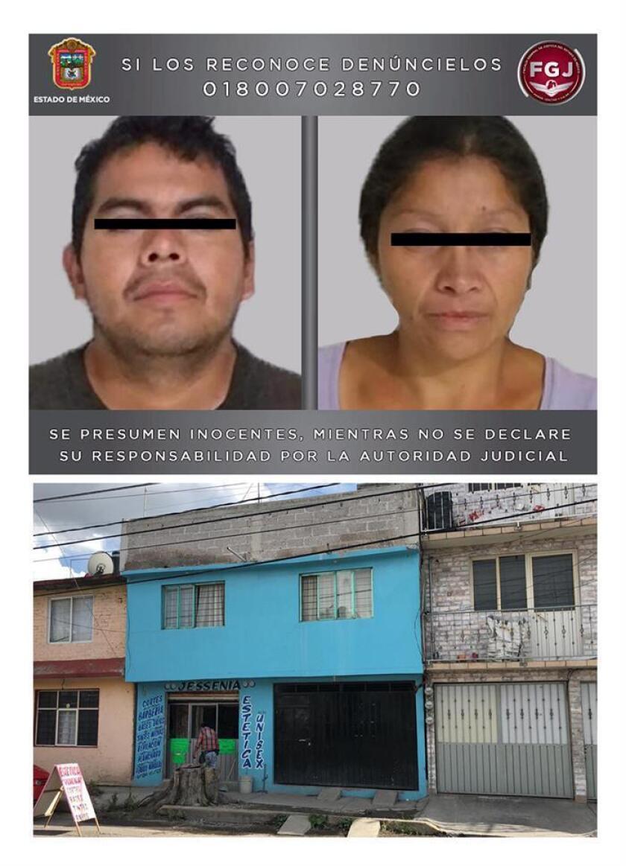 """Fotografías cedidas de Juan Carlos 'N"""" y su esposa, Patricia 'N', (arriba) y su domicilio (abajo), quienes son acusados de presuntamente asesinar al menos a 20 mujeres en el municipio de Ecatepec en el estado de México (México). EFE/FISCALÍA DEL ESTADO DE MÉXICO (FGEM)/SOLO USO EDITORIAL / NO VENTAS"""