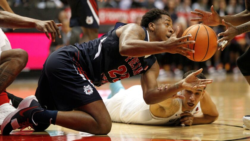 SAN DIEGO, January 17, 2018 | Fresno State's Ray Bowles passes off a loose ball he and the Aztecs No