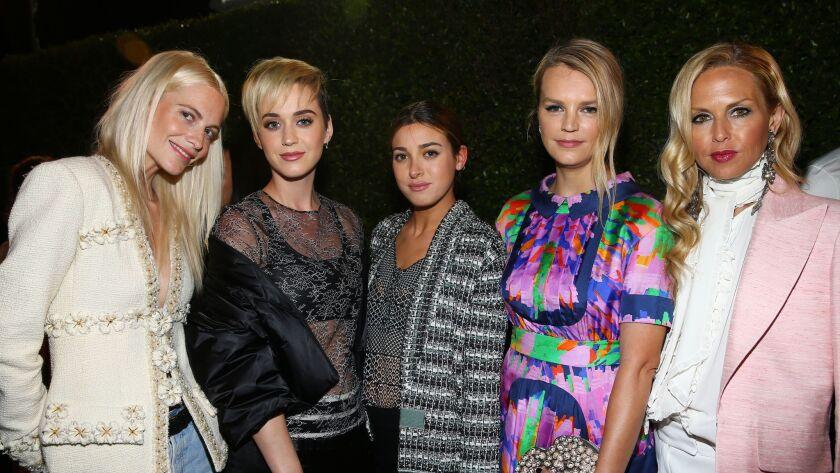 From left, Poppy Delevingne, Katy Perry, Jamie Schneider, Kelly Sawyer and Rachel Zoe