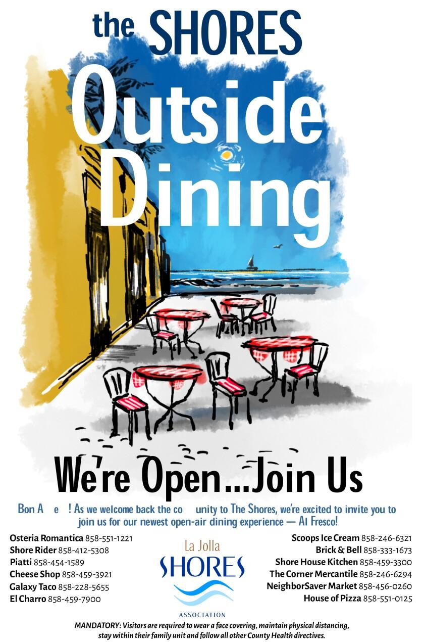 The La Jolla Shores Association created a flier for its outdoor dining program on a block of Avenida de la Playa.