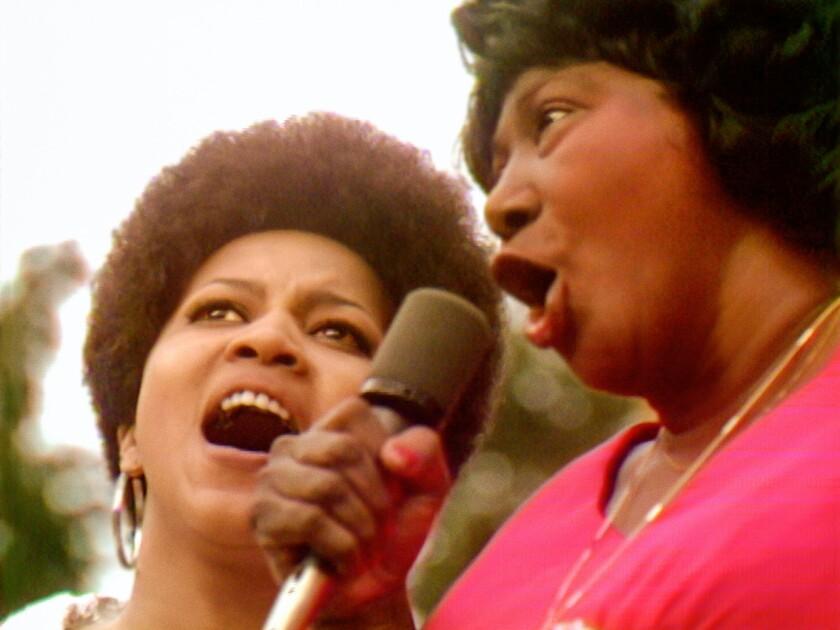 "Mavis Staples and Mahalia Jackson in ""Summer of Soul."""