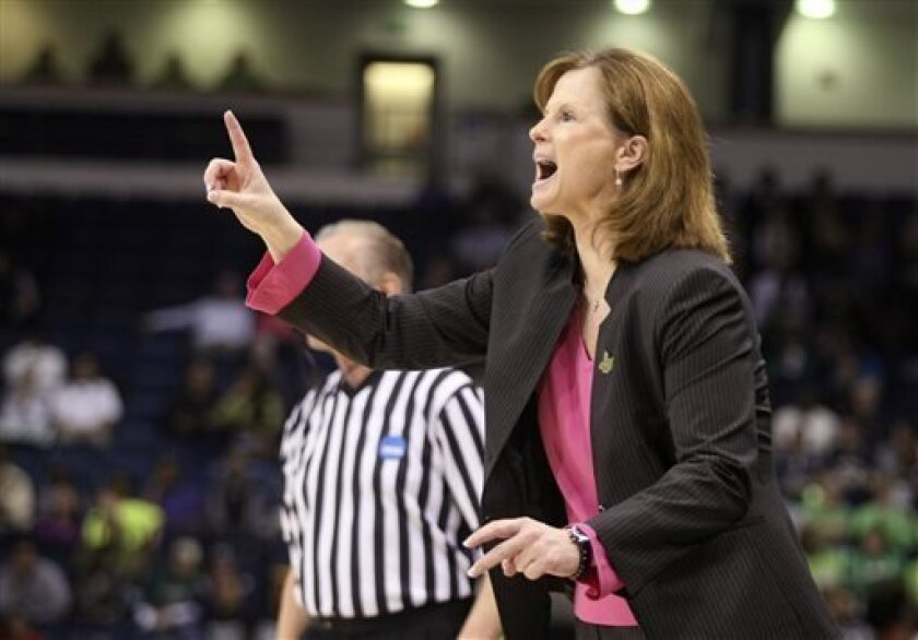 Kansas head coach Bonnie Henrickson direct her team during the second half a regional semi-final of the NCAA college basketball tournament Sunday, March, 2013, in Norfolk, Va.  (AP Photo/Jason Hirschfeld)