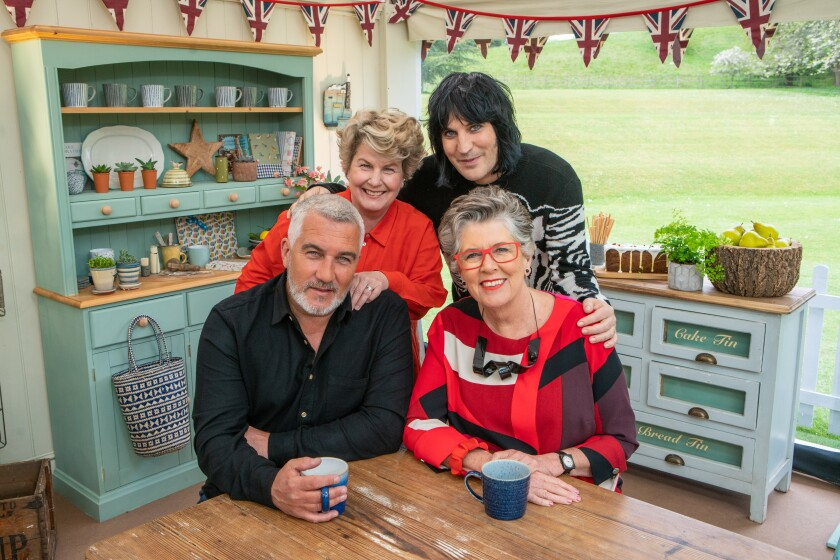 Front row: Judges Paul Hollywood and Prue Leith. Back row: Presenters Sandi Toksvig and Noel Fielding.