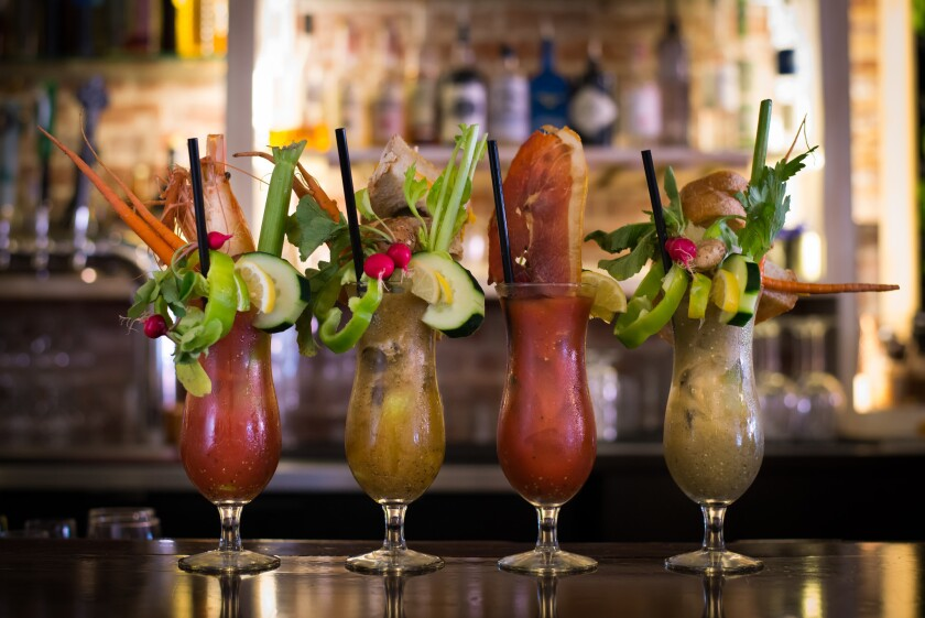 A lineup of bloody Mary cocktails from Cafe 21 in the Gaslamp.