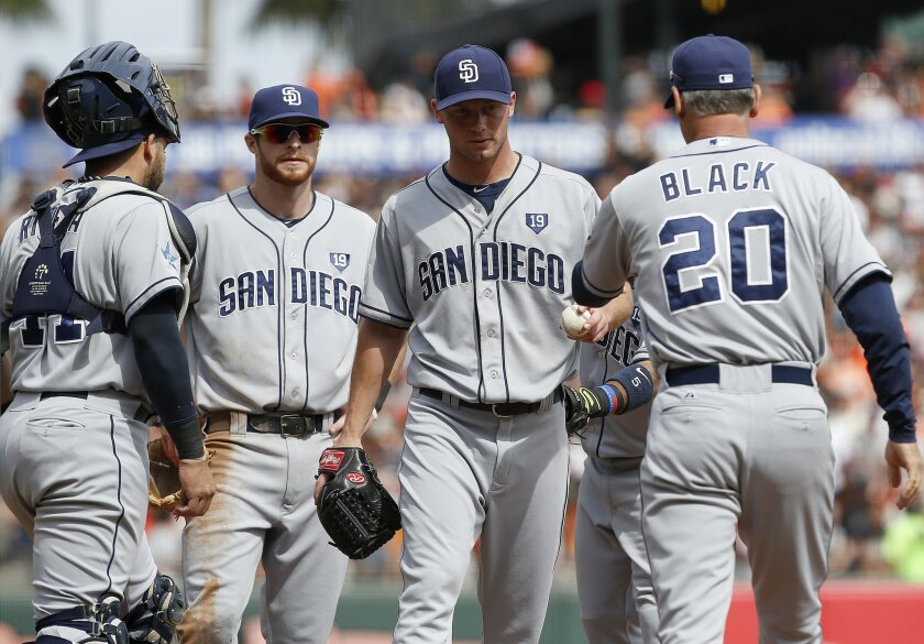 San Diego Padres starting pitcher Robbie Erlin , center, is taken out by manager Bud Black (20) during the second inning against the San Francisco Giants of a baseball game in San Francisco, Sunday, Sept. 28, 2014. (AP Photo/Tony Avelar)