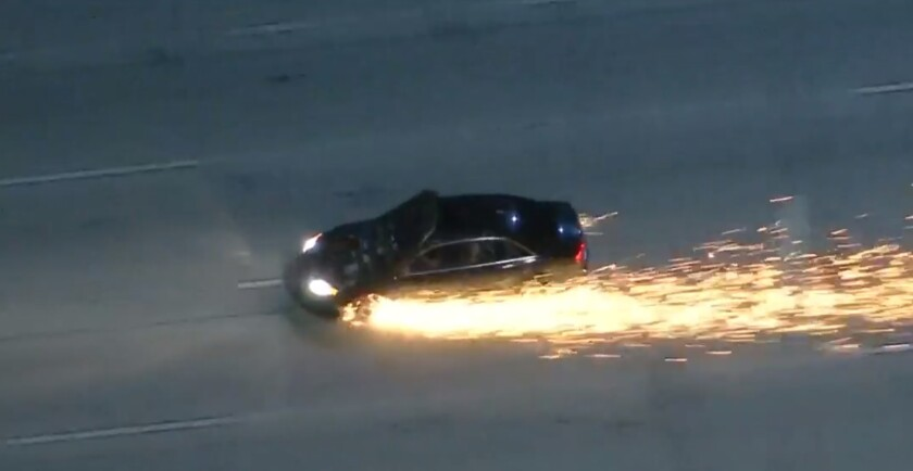 A wild pursuit Thursday night sent sparks flying on the freeway.