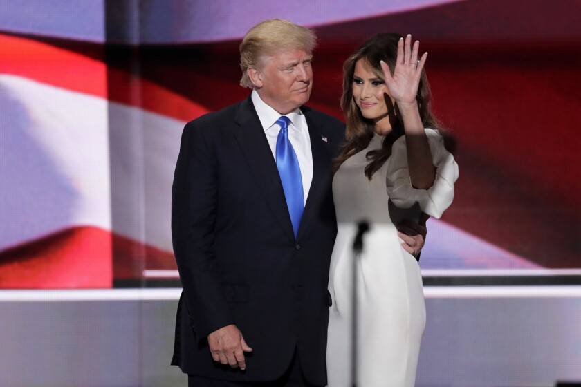Donald Trump greets his wife Melania after her speech Monday night at the Republican National Convention.