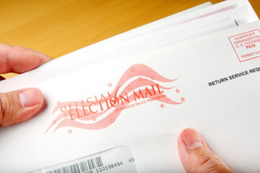 Stock photo of a mail-in ballot