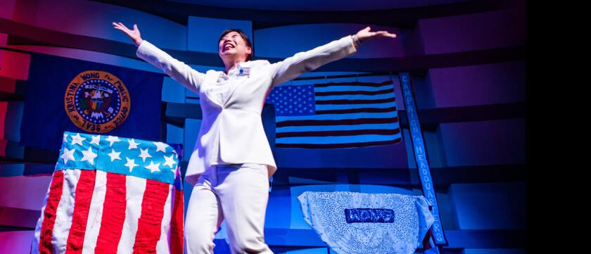"""Kristina Wong in """"Kristina Wong for Public Office"""" at the Kirk Douglas Theatre."""