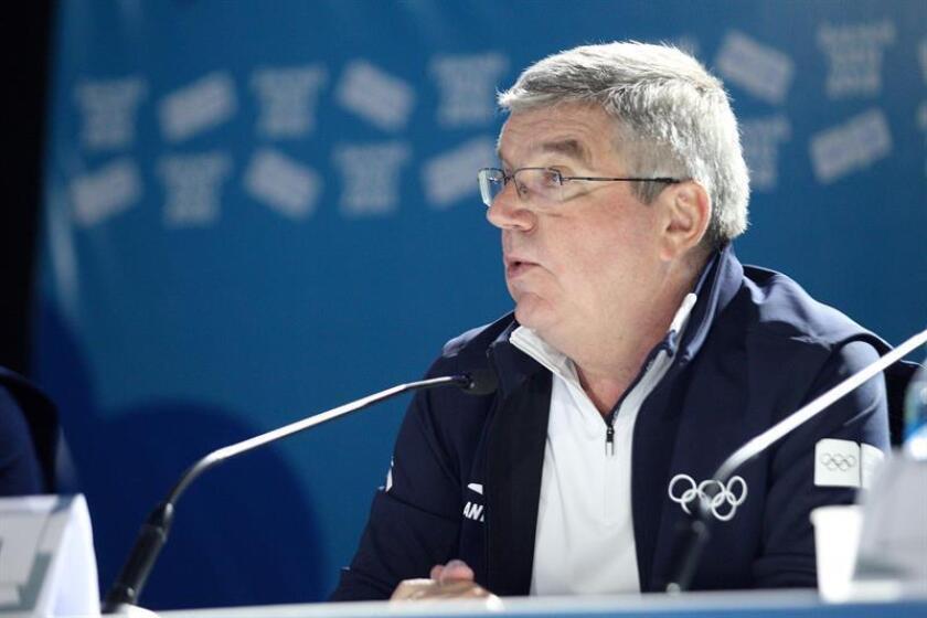 El presidente del Comité Olímpico Internacional, Thomas Bach, habla hoy, jueves 18 de octubre de 2018, durante la clausura de los Juegos Olímpicos de la Juventud 2018, en Buenos Aires (Argentina). EFE