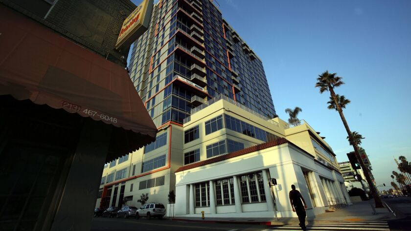 The Sunset and Gordon apartment tower, at Sunset Boulevard and Gordon Street, has been vacant for years. It was emptied out in the wake of a 2014 legal ruling striking down the city's approval of the project.