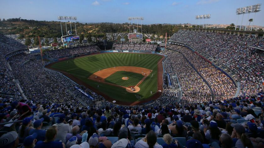 A view of sixth-inning action from the upper deck during a game between the Chicago Cubs and the Dodgers at Dodger Stadium on June 16.