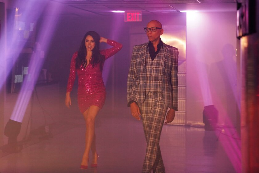 """Saturday Night Live"" cast member Cecily Strong, left, with host RuPaul."