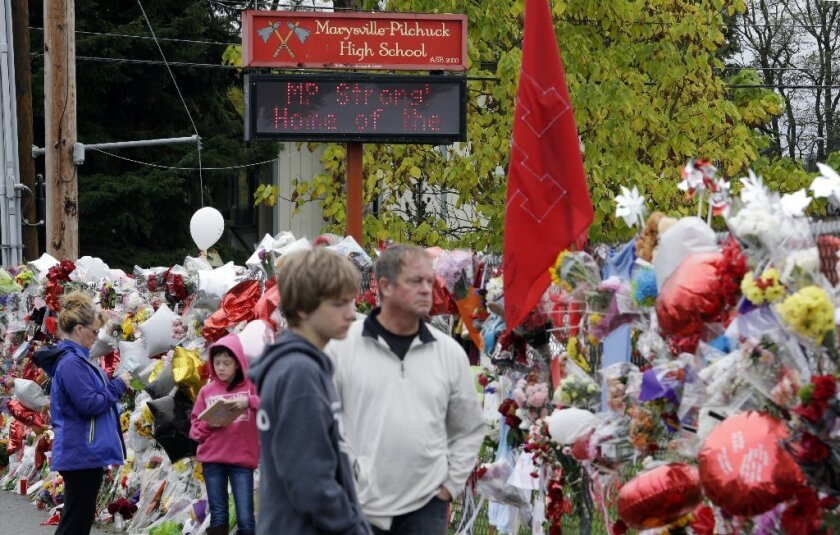 A memorial for victims of a school shooting in Washington state.