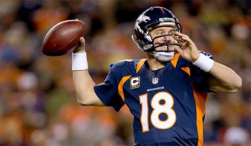Broncos quarterback Peyton Manning will see one streak end today