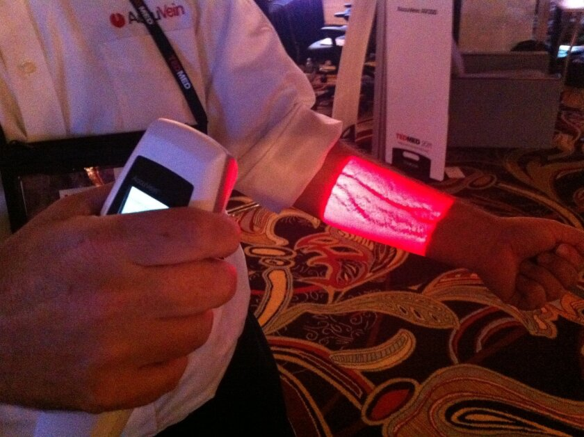 Among the cutting edge medical devices on display this week at TEDMED in Coronado was this handheld laser device made by AccuVein of Huntington, N.Y., that illuminates veins through the skin for easier injections.