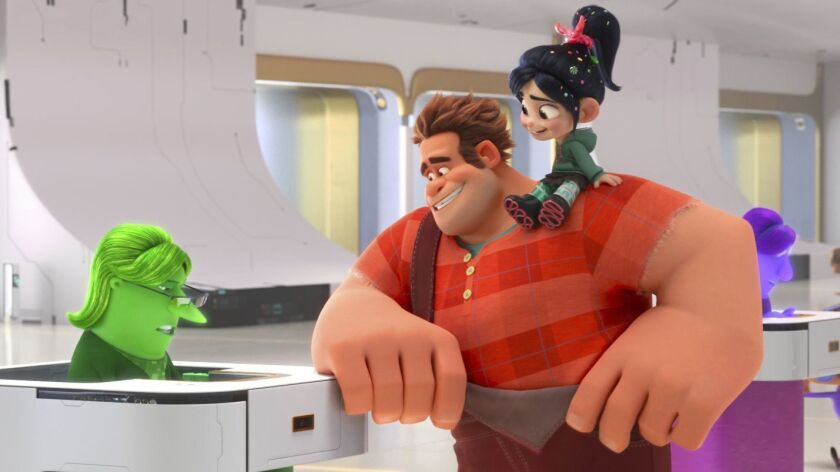 This image released by Disney shows characters, from left, eBay Elayne, voiced by Rebecca Wisocky, R