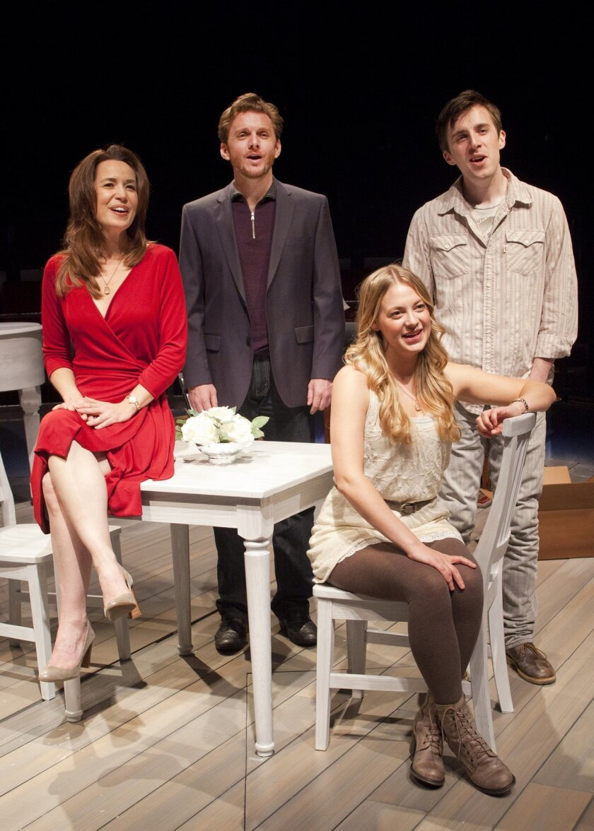 """Michelle Duffy as Molly, Jason Danieley as Ben, Jenni Barber as Young Molly and Andrew Mueller as Young Ben in """"Some Lovers,"""" a new musical at The Old Globe. Credit: Henry DiRocco"""