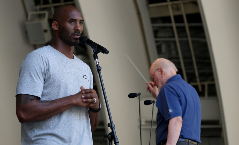 Lakers great Kobe Bryant rehearses with the L.A. Philharmonic on Aug. 31, 2017;