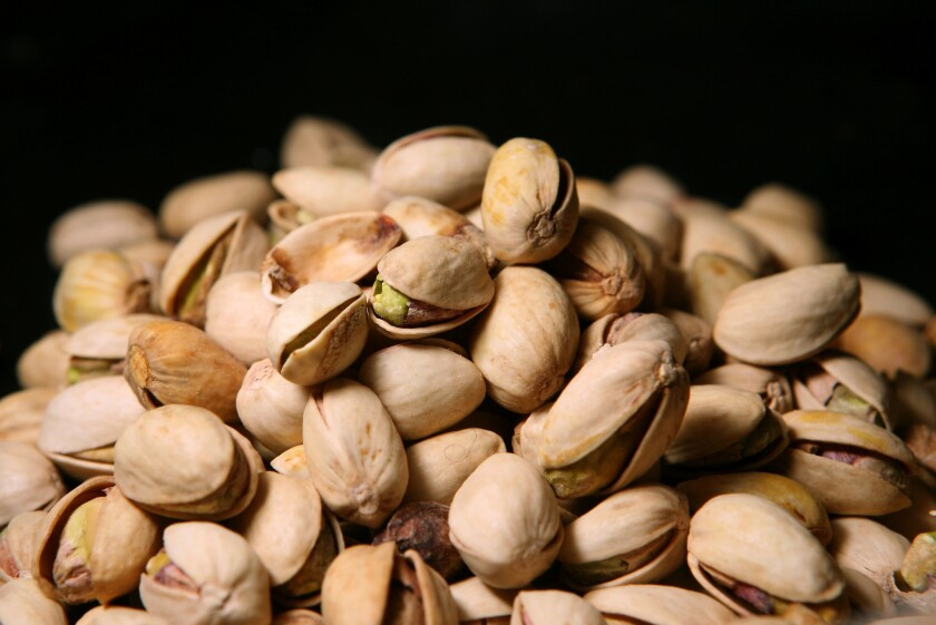 Pistachios sit on a table in San Francisco