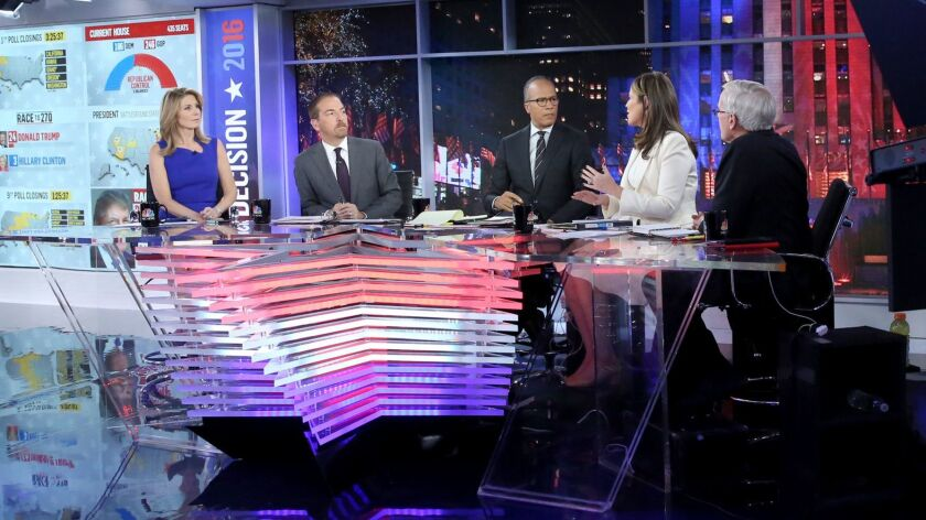 Republican commentator Nicolle Wallace, left, with Chuck Todd, Lester Holt, Savannah Guthrie and Tom Brokaw during NBC's 2016 election night coverage. The rising trend in disclosure comes as the push to get the SEC to adopt political disclosure rules has stalled.