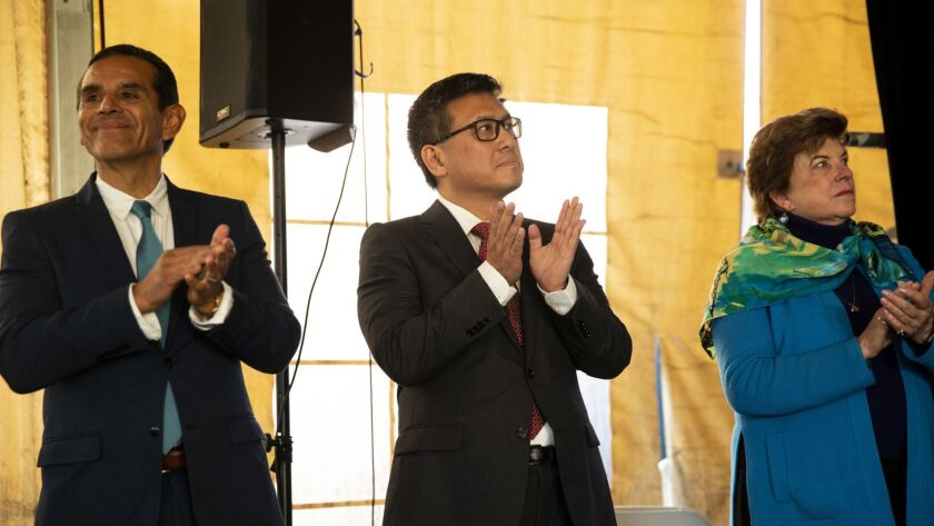 From left, Democratic gubernatorial candidates Antonio Villaraigosa, John Chiang and Delaine Eastin at a forum at Los Angeles Trade Technical College.