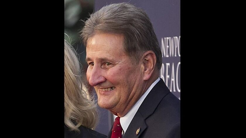 The appointment of former Newport Beach Mayor Ed Selich, pictured in 2016, to the city's general plan steering committee drew objections Tuesday from local activist Susan Skinner.