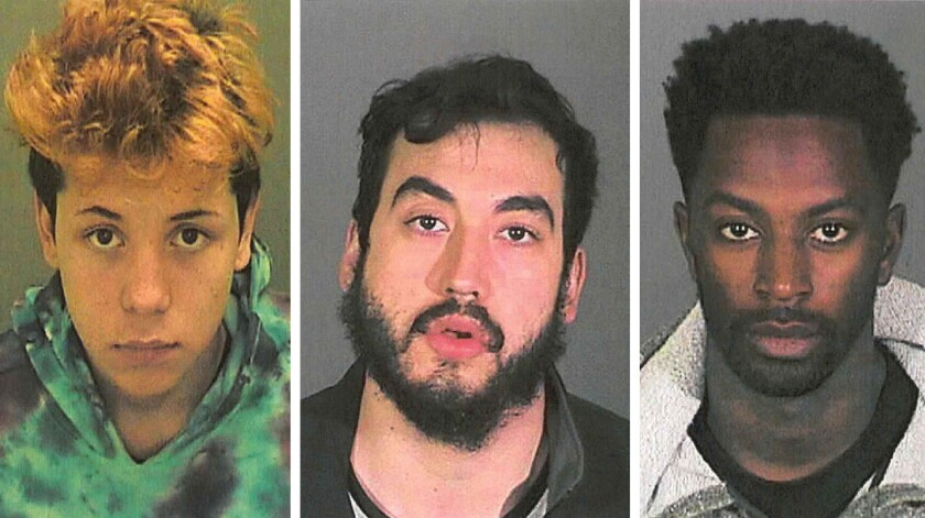YouTuber Steven Fernandez, left, Jose Barajas and Keelan Lamar Dadd have been arrested and charged with the sexual exploitation of a 12-year-old girl.