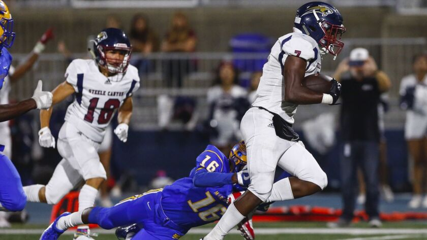 Kenneth Watson led the Steele Canyon ground game, rushing for 233 yards on 15 carries and scoring two touchdowns.