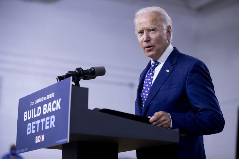 Joe Biden speaks at a recent campaign event in Wilmington, Del.