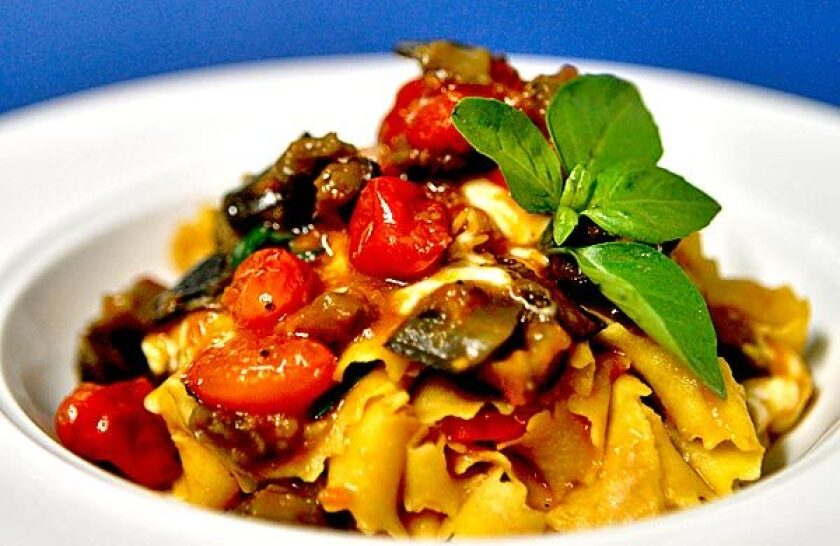 Papparedelle with eggplant sauce.